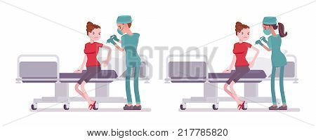 Male and female nurse at medical procedure. Young workers in hospital uniform doing injection. Medicine and healthcare concept. Vector flat style cartoon illustration isolated on white background