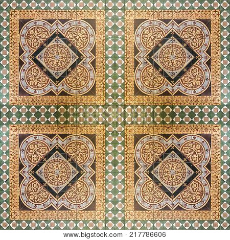 A seamless background image of patterned ceramic tiles from Glasgow cathedral in Scotland.