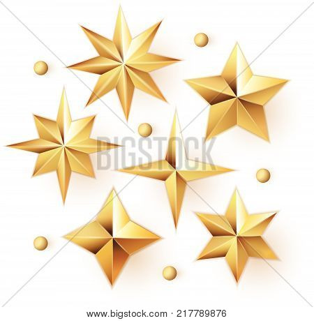 Realistic golden stars vector set isolated on white background. .Glossy 3D Christmas star icon. Design element for holidays.