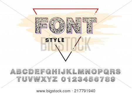 Modern vector triangular font. Futuristic polygonal typeface made of lines. Polygonal retro alphabet. Vector illustration