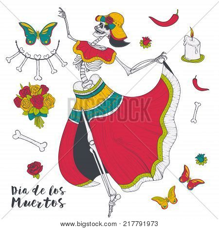 Abstract woman dancing female skeleton with butterflies and flowers vector illustration isolated on white background. Mystic and scary woman, terrible zombie, spooky witch, day of dead, dia de muertos
