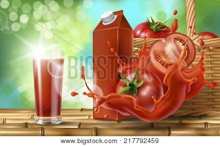 Tomato juice ad, paper box, drinking glass with drink, splash of tomato juice and wooden basket with tomatoes stand on bamboo table, realistic vector on natural background with sunlight.