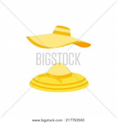 Women Summer hat icon. Girl beach sunhat flat cartoon. Lady hat for vacation. Woman straw cap for travel wear. Sun protection wide brim sunblock. Holiday weekend sign isolated. Vector illustration