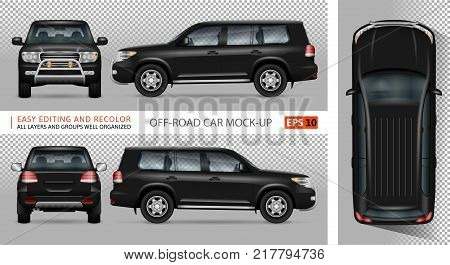 Off road truck vector mock-up for advertising corporate identity. Isolated SUV car template. Vehicle branding mockup. All layers and groups well organized for easy editing and recolor. View from five sides.