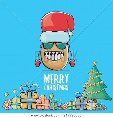 vector funky comic cartoon cute brown smiling santa claus potato with red santa hat, gifts, tree and calligraphic merry christmas text isolated on blue background. vegetable funky christmas character