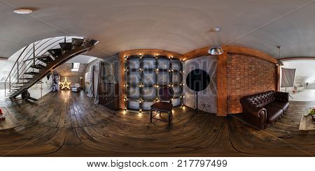 GRODNO BELARUS - JUNE 4 2016: Panorama in interior modern photographic studio of daylight. Full spherical 360 by 180 degrees seamless panorama in equirectangular equidistant projection. VR content