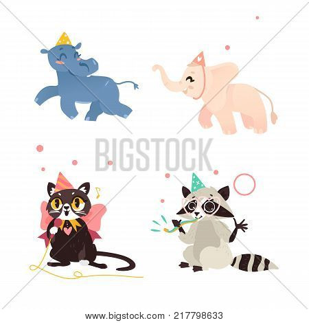 Cute animal characters, hippo, elephant, cat and raccoon, having fun at birthday party, celebrating, cartoon vector illustration isolated on white background. Animal characters in birthday hats