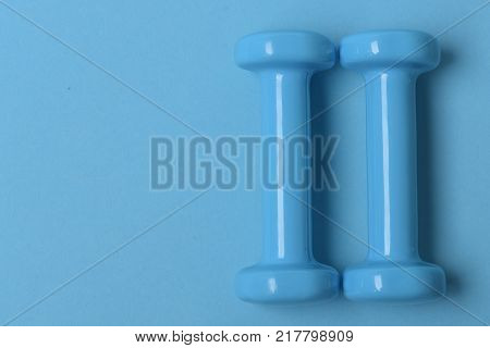 Health Regime And Fitness Symbols. Barbells In Small Size