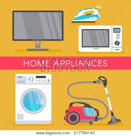 vector home appliance sale poster, banner design with modern consumer electronics icons - microwave overn, washing machine, vacuum cleaner, plasma panel tv set, monitor and iron. Isolated illustration