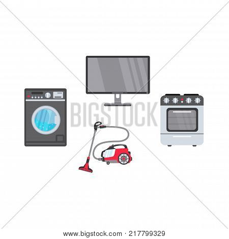 vector flat modern consumer electronics, home appliance icon set. Highly detailed gas stove, washing machine, washer vacuum cleaner and plasma panel tv set or monitor. Isolated illustration