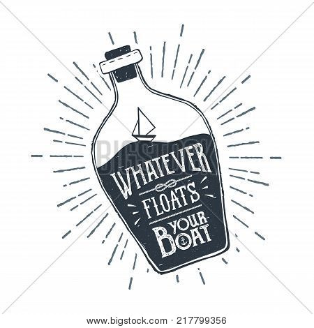 Hand drawn ship in a bottle textured vector illustration and