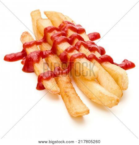 French Fried Potatoes with ketchup isolated on white background
