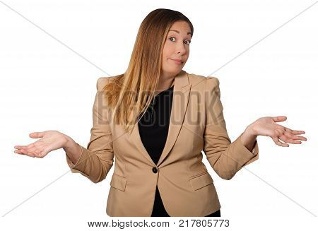 Beautiful businesswoman with open arms wide, in sign of incredulity, resignation, despair, innocence. Doubt face with raised eyebrows. Isolated on a white background.
