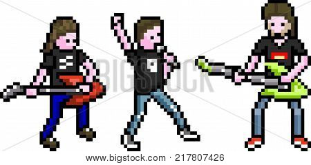 Set of different people in perfect pixel art style. Rock musicians with guitars and a singer. Retro 8-bit. For your games, retro, business design. Detailed vector clip art with easy editable colors