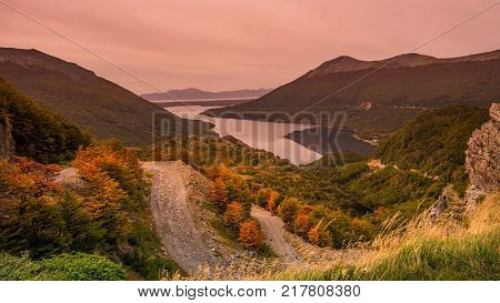 Gorgeous landscape of Patagonia's Tierra del Fuego National Park in Autumn Argentina near Ushuaia