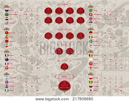 Match schedule 2018 final draw results table flags of countries participating to the international soccer tournament in Russia date time and location traditional russian background 2018 trends vector illustration