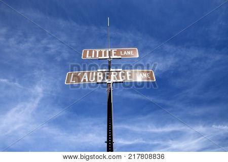 A sign against a beautiful blue sky in Arizona