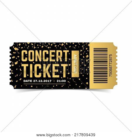 Golden vector concert ticket. Realistic 3d design with gold confetti on white background.