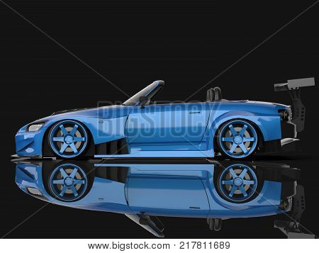 Modern blue sports convertible. Open car with tuning. 3d rendering