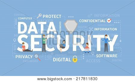 Data scurity concept illustration. Idea of protection, cryptography and information.