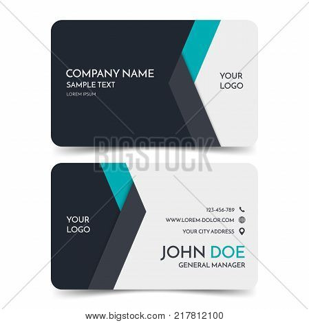 Black white modern business card vector photo bigstock black and white modern business card template vector minimal corporate identity card design eps10 reheart Choice Image