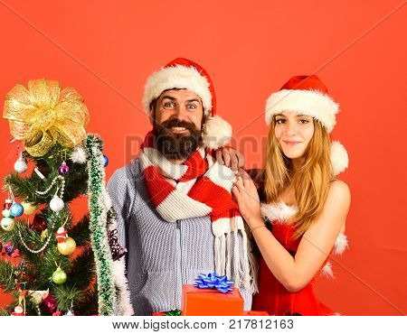New Year And Christmas Time Concept. Mister And Missis Claus