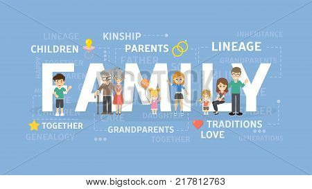 Family concept illustration. Idea of people, parents and children.