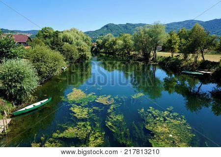 The Krka river in Kostanjevica na Krki Slovenia