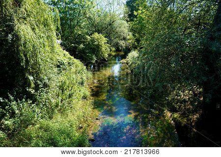 Wild Krka river in Kostanjevica na Krki Slovenia
