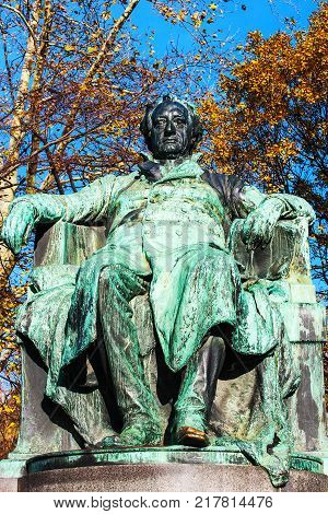 Statue of the famous German writer Johann Wolfgang von Goethe outside the Burggarten in downtown Vienna Austria.