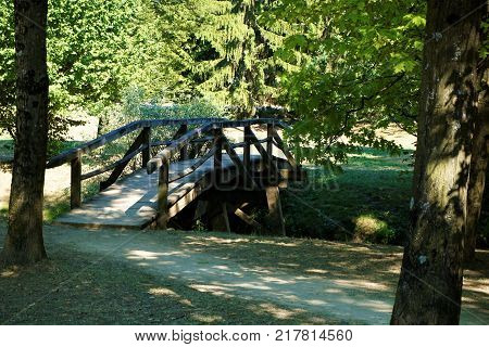 Small bridge over the Krka river in Kostanjevica na Krki Slovenia