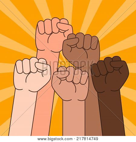 A vector illustration of Multi Ethnic People With Raised Fist