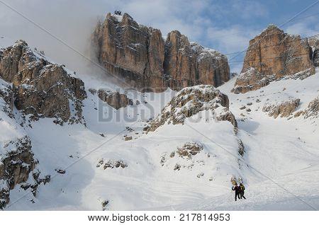 Sass Pordoi Group with snow in the Italian Dolomites, from Pass Pordoi. Italy.