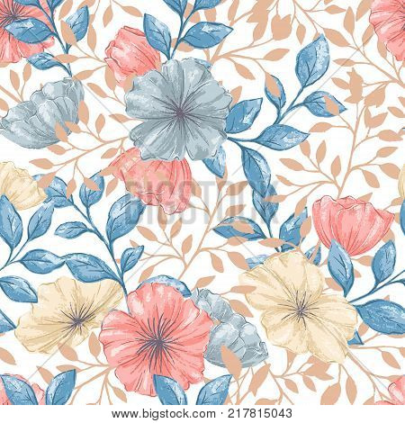 Seamless pattern with gentle hand drawn florals in pastel colors. Flower wallpaper in romantic retro style for fabric, backdrop, wrappint paper, cover, cards, textile.