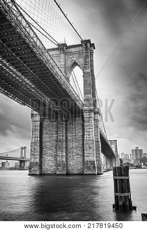 HDR view of Brooklyn Bridge - black and white image.