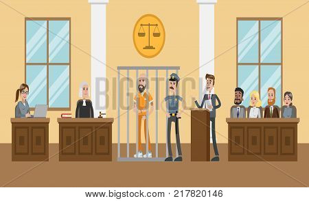 People in court. Judges and witnesses. Criminal case.