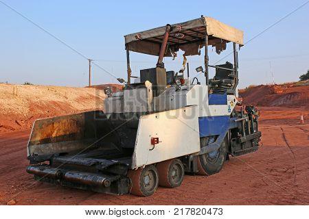 Asphalt Paver on a road construction site