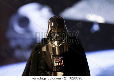 Star Wars Darth Vader stands in front of a view of the Death Star from Return of the Jedi - Hasbro Black Series action figure