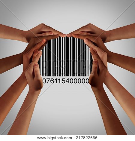 Customer diversity and consumer group funding and market support as a crowd of diverse hands holding a upc code or barcode in a 3D illustration style.