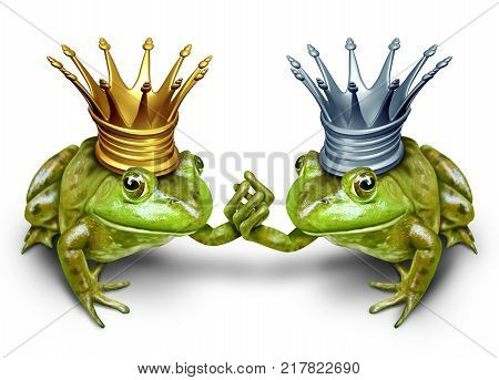 Gay marriage concept as two male prince frogs wearing crowns holding hands as a same sex wedding concept with 3D illustration elements.