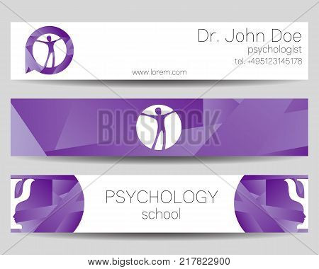 Vector Psychology Web banner design background or header Templates. Psi logo. Sumbol and icon, logotype. Profile Human. Creative style. Brand company concept. Violet trend color.