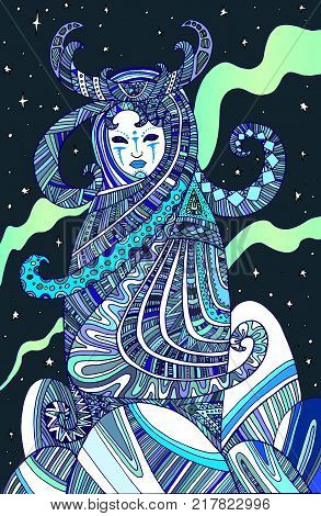 Colored page boho woman shaman, for children and adults. Vector hand drawn illustration doodle cartoon fairy tales graphic art . Mystic occult girl coloring book. Ancient goddess Keeper of the North.
