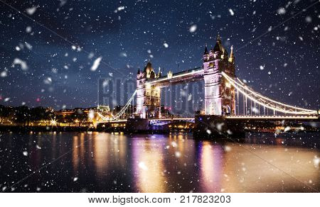 snowing in london, UK - winter in the city
