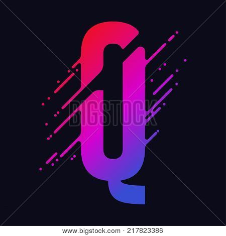 Alphabet letter Q with liquid splash and drops, abstract colorful ink abc, stylized dynamic paint trail font. Vector