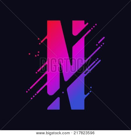 Alphabet letter N with liquid splash and drops, abstract colorful ink abc, stylized dynamic paint trail font. Vector