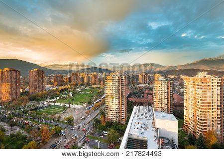 Skyline of buildings around Juan Pablo II park at a wealthy neighborhood in Las Condes district Santiago de Chile