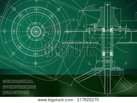 Mechanical engineering drawings. Vector. Green Mechanical engineering drawings. Grid