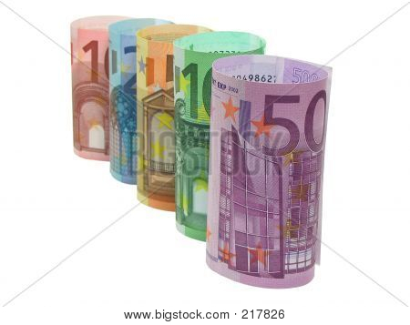 Euro Notes In A Row