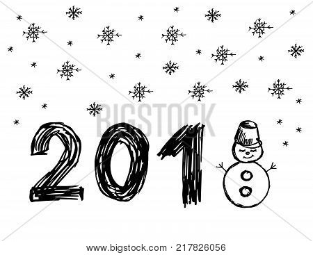 Snowman. It's snowing. Snowflakes. Winter illustration. Hand drawing. Doodle image. Happy New Year 2018