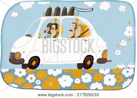 Car sharing - an illustration of four businesspeople office workers eco friendly sharing one car on their road to the office.